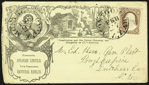 Sale Number 1109, Lot Number 525, 1c-3c 1857-60 Issue, On-Cover (Scott 18-26)3c Dull Red, Ty. III (26), 3c Dull Red, Ty. III (26)