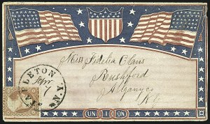 Sale Number 1109, Lot Number 526, 1c-3c 1857-60 Issue, On-Cover (Scott 18-26)3c Dull Red, Ty. III (26), 3c Dull Red, Ty. III (26)