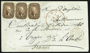 Sale Number 1109, Lot Number 532, 5c-30c 1857-60 Issue, On-Cover (Scott 27-38)5c Red Brown (28), 5c Red Brown (28)