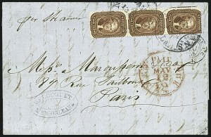 Sale Number 1109, Lot Number 533, 5c-30c 1857-60 Issue, On-Cover (Scott 27-38)5c Bright Red Brown (28b), 5c Bright Red Brown (28b)