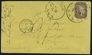 Sale Number 1109, Lot Number 536, 5c-30c 1857-60 Issue, On-Cover (Scott 27-38)5c Brown (29), 5c Brown (29)