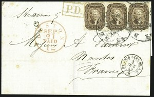 Sale Number 1109, Lot Number 537, 5c-30c 1857-60 Issue, On-Cover (Scott 27-38)5c Brown (29), 5c Brown (29)
