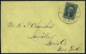 Sale Number 1109, Lot Number 544, 5c-30c 1857-60 Issue, On-Cover (Scott 27-38)10c Green, Ty. IV (34), 10c Green, Ty. IV (34)