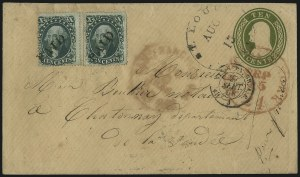 Sale Number 1109, Lot Number 545, 5c-30c 1857-60 Issue, On-Cover (Scott 27-38)10c Green, Ty. II, III (32, 33), 10c Green, Ty. II, III (32, 33)