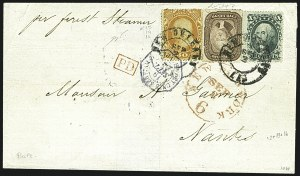 Sale Number 1109, Lot Number 554, 5c-30c 1857-60 Issue, On-Cover (Scott 27-38)30c Orange (38), 30c Orange (38)