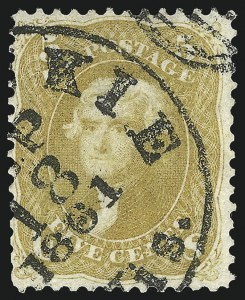 Sale Number 1109, Lot Number 574, 1861-66 Issue, Off-Cover (Scott 62B-68)5c Olive Yellow (67b), 5c Olive Yellow (67b)