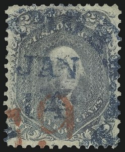 Sale Number 1109, Lot Number 587, 1861-66 Issue, Off-Cover, Cont. (Scott 69-78c)24c Steel Blue (70b), 24c Steel Blue (70b)
