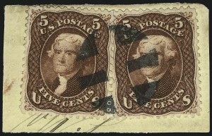 Sale Number 1109, Lot Number 606, 1861-66 Issue, Off-Cover, Cont. (Scott 69-78c)5c Red Brown (75), 5c Red Brown (75)