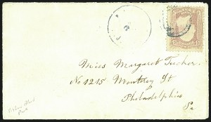 Sale Number 1109, Lot Number 614, 1861-66 Issue, On-Cover (Scott 62B-65)3c Pigeon Blood Pink (64a), 3c Pigeon Blood Pink (64a)