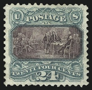 Sale Number 1109, Lot Number 685, 1875 Re-Issue of 1869 Pictorial Issue, Off-Cover (Scott 124-132)24c Green & Violet, Re-Issue (130), 24c Green & Violet, Re-Issue (130)