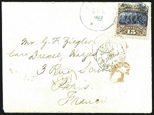 Sale Number 1109, Lot Number 694, 1869 Pictorial Issue, On-Cover (Scott 112-119)15c Brown & Blue, Ty. II (119), 15c Brown & Blue, Ty. II (119)