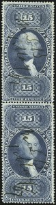 Sale Number 1110, Lot Number 1212, First Issue Revenues, Blocks and Record-Size Multiples, Cont. (Scott R95-R102)$15.00 Mortgage, Perforated (R97c), $15.00 Mortgage, Perforated (R97c)