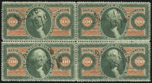 Sale Number 1110, Lot Number 1226, First Issue Revenues, Blocks and Record-Size Multiples, Cont. (Scott R95-R102)$200.00 U.S.I.R., Perforated (R102c), $200.00 U.S.I.R., Perforated (R102c)