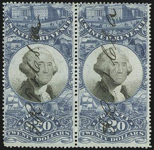 Sale Number 1110, Lot Number 1274, Second Issue Revenues$20.00 Blue & Black, Second Issue (R129), $20.00 Blue & Black, Second Issue (R129)