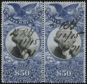 Sale Number 1110, Lot Number 1277, Second Issue Revenues$50.00 Blue & Black, Second Issue (R131), $50.00 Blue & Black, Second Issue (R131)