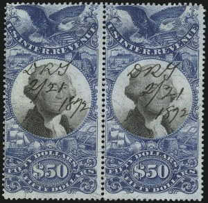 Sale Number 1110, Lot Number 1278, Second Issue Revenues$50.00 Blue & Black, Second Issue (R131), $50.00 Blue & Black, Second Issue (R131)