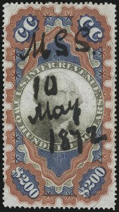 "Sale Number 1110, Lot Number 1281, Second Issue Revenues$200.00 Red, Blue & Black, Second Issue, ""Small Persian Rug"" (R132), $200.00 Red, Blue & Black, Second Issue, ""Small Persian Rug"" (R132)"