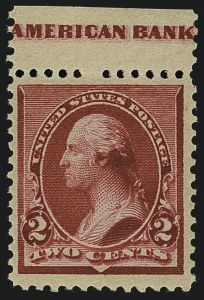 "Sale Number 1111, Lot Number 113, 1890-93 Issue (Scott 219-229)2c Carmine, Cap on Both ""2""'s (220c), 2c Carmine, Cap on Both ""2""'s (220c)"