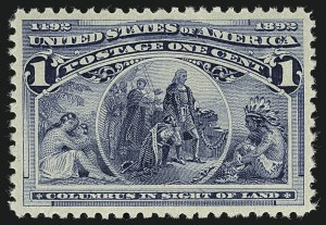 Sale Number 1111, Lot Number 122, 1893 Columbian Issue (Scott 230-245)1c Columbian (230), 1c Columbian (230)