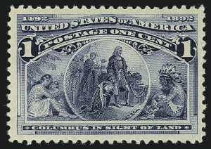Sale Number 1111, Lot Number 123, 1893 Columbian Issue (Scott 230-245)1c Columbian (230), 1c Columbian (230)