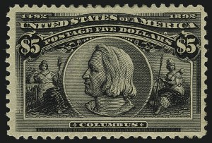 Sale Number 1111, Lot Number 155, 1893 Columbian Issue (Scott 230-245)$5.00 Columbian (245), $5.00 Columbian (245)