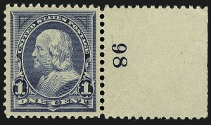 Sale Number 1111, Lot Number 160, 1894 Unwatermarked Bureau Issue (Scott 246-263)1c Blue (247), 1c Blue (247)