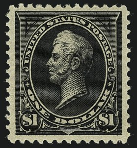 Sale Number 1111, Lot Number 175, 1894 Unwatermarked Bureau Issue (Scott 246-263)$1.00 Black, Ty. I (261), $1.00 Black, Ty. I (261)