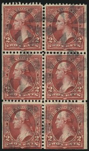 Sale Number 1111, Lot Number 201, 1895-1903 Watermarked Bureau Issues (Scott 264-284)2c Red, Ty. IV, Booklet Pane of Six, Horizontal Wmk. (279Bj), 2c Red, Ty. IV, Booklet Pane of Six, Horizontal Wmk. (279Bj)
