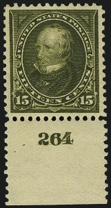 Sale Number 1111, Lot Number 205, 1895-1903 Watermarked Bureau Issues (Scott 264-284)15c Olive Green (284), 15c Olive Green (284)