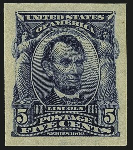 Sale Number 1111, Lot Number 249, 1902-08 Issues (Scott 300-320)5c Blue, Imperforate (315), 5c Blue, Imperforate (315)
