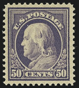 Sale Number 1111, Lot Number 421, 1912-14 Washington-Franklin Issue (Scott 405-423)50c Violet (422), 50c Violet (422)