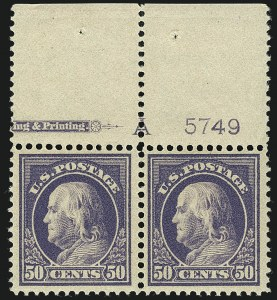 Sale Number 1111, Lot Number 423, 1912-14 Washington-Franklin Issue (Scott 405-423)50c Violet (422), 50c Violet (422)