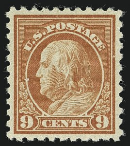 Sale Number 1111, Lot Number 439, 1913-15 Washington-Franklin Issues (Scott 424-440)9c Salmon Red (432), 9c Salmon Red (432)
