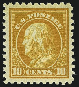 Sale Number 1111, Lot Number 441, 1913-15 Washington-Franklin Issues (Scott 424-440)10c Orange Yellow (433), 10c Orange Yellow (433)