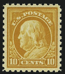 Sale Number 1111, Lot Number 443, 1913-15 Washington-Franklin Issues (Scott 424-440)10c Orange Yellow (433), 10c Orange Yellow (433)