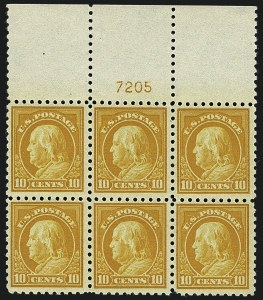 Sale Number 1111, Lot Number 444, 1913-15 Washington-Franklin Issues (Scott 424-440)10c Orange Yellow (433), 10c Orange Yellow (433)