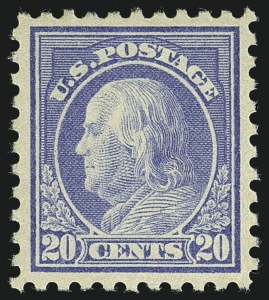 Sale Number 1111, Lot Number 449, 1913-15 Washington-Franklin Issues (Scott 424-440)20c Ultramarine (438), 20c Ultramarine (438)