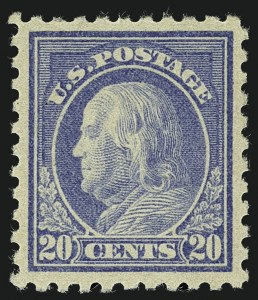Sale Number 1111, Lot Number 450, 1913-15 Washington-Franklin Issues (Scott 424-440)20c Ultramarine (438), 20c Ultramarine (438)