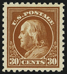 Sale Number 1111, Lot Number 452, 1913-15 Washington-Franklin Issues (Scott 424-440)30c Orange Red (439), 30c Orange Red (439)