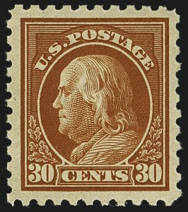 Sale Number 1111, Lot Number 453, 1913-15 Washington-Franklin Issues (Scott 424-440)30c Orange Red (439), 30c Orange Red (439)