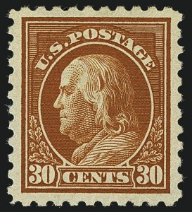 Sale Number 1111, Lot Number 454, 1913-15 Washington-Franklin Issues (Scott 424-440)30c Orange Red (439), 30c Orange Red (439)