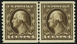Sale Number 1111, Lot Number 468, 1913-15 Washington-Franklin Issues, Cont. (Scott 441-448)4c Brown, Coil (446), 4c Brown, Coil (446)