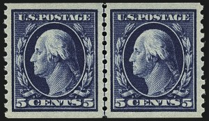 Sale Number 1111, Lot Number 471, 1913-15 Washington-Franklin Issues, Cont. (Scott 441-448)5c Blue, Coil (447), 5c Blue, Coil (447)
