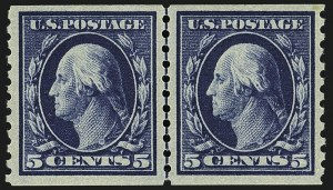 Sale Number 1111, Lot Number 472, 1913-15 Washington-Franklin Issues, Cont. (Scott 441-448)5c Blue, Coil (447), 5c Blue, Coil (447)