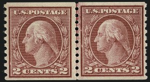 Sale Number 1111, Lot Number 479, 1913-15 Washington-Franklin Issues, Cont. (Scott 449-461)2c Carmine Rose, Ty. I, Coil (453), 2c Carmine Rose, Ty. I, Coil (453)
