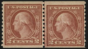 Sale Number 1111, Lot Number 481, 1913-15 Washington-Franklin Issues, Cont. (Scott 449-461)2c Red, Ty. II, Coil (454), 2c Red, Ty. II, Coil (454)