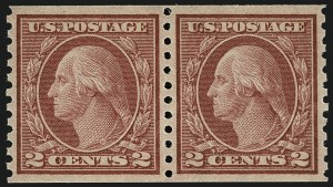 Sale Number 1111, Lot Number 482, 1913-15 Washington-Franklin Issues, Cont. (Scott 449-461)2c Red, Ty. II, Coil (454), 2c Red, Ty. II, Coil (454)