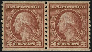 Sale Number 1111, Lot Number 483, 1913-15 Washington-Franklin Issues, Cont. (Scott 449-461)2c Red, Ty. II, Coil (454), 2c Red, Ty. II, Coil (454)