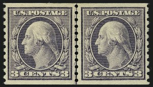 Sale Number 1111, Lot Number 486, 1913-15 Washington-Franklin Issues, Cont. (Scott 449-461)3c Violet, Coil (456), 3c Violet, Coil (456)