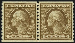 Sale Number 1111, Lot Number 489, 1913-15 Washington-Franklin Issues, Cont. (Scott 449-461)4c Brown, Coil (457), 4c Brown, Coil (457)